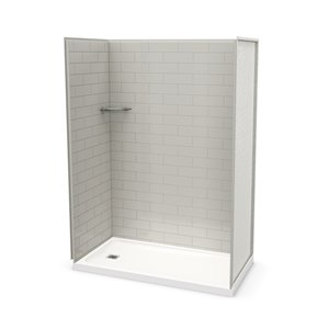 MAAX Utile Alcove Shower Kit with Left Drain - 60-in x 32-in - Soft Grey - 4-Piece