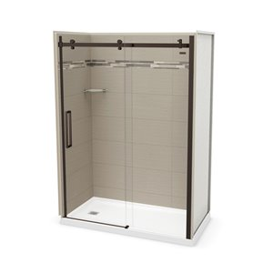 MAAX Utile Alcove Shower Kit with Left Drain - 60-in x 32-in - Origin Greige/Dark Bronze - 5-Piece