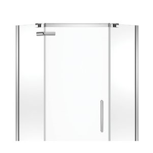 MAAX Hana Neo-Angle Shower Kit with Base and Wall - 40-in x 40-in x 78.75-in - Chrome - 3-Piece