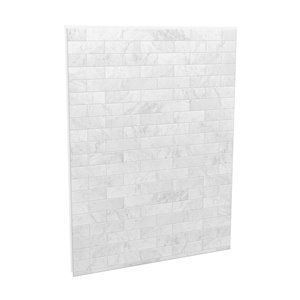 MAAX Utile Alcove Shower Kit with Right Drain - 60-in x 32-in - Marble Carrara - 4-Piece