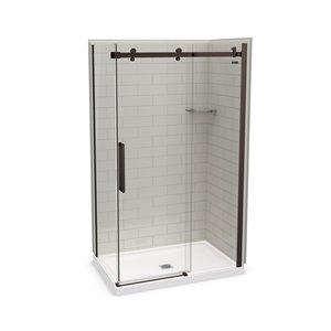 MAAX Utile Corner Shower Kit with Central Drain - 48-in x 32-in x 84-in - Soft Grey/Dark Bronze - 5-Piece