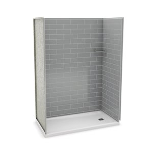 MAAX Utile Alcove Shower Kit with Right Drain - 60-in x 32-in - Ash Grey - 4-Piece