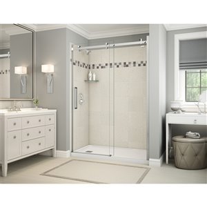 MAAX Utile Alcove Shower Kit with Left Drain - 60-in x 32-in - Stone Sahara/Chrome - 5-Piece