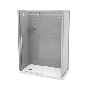MAAX Utile Alcove Shower Kit with Left Drain - 60-in x 32-in - Ash Grey/Brushed Nickel - 5-Piece