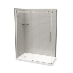 MAAX Utile Corner Shower Kit with Left Drain - 60-in x 32-in x 84-in - Soft Grey/Brushed Nickel - 5-Piece