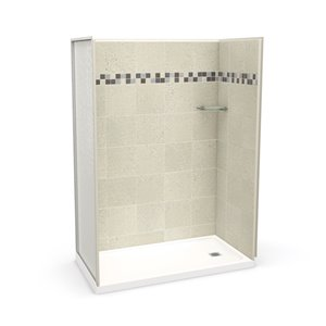 MAAX Utile Alcove Shower Kit with Right Drain - 60-in x 32-in - Stone Sahara - 4-Piece