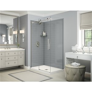 MAAX Utile Corner Shower Kit with Central Drain - 48-in x 32-in x 84-in - Ash Grey/Chrome - 5-Piece