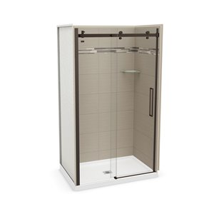MAAX Utile Alcove Shower Kit with Central Drain - 48-in x 32-in - Origin Greige/Dark Bronze - 5-Piece