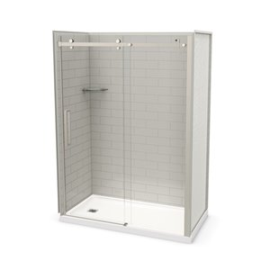 MAAX Utile Alcove Shower Kit with Left Drain - 60-in x 32-in - Soft Grey/Brushed Nickel - 5-Piece