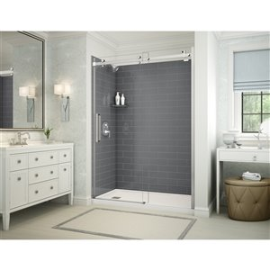 MAAX Utile Alcove Shower Kit with Left Drain - 60-in x 32-in - Thunder Grey/Chrome - 5-Piece