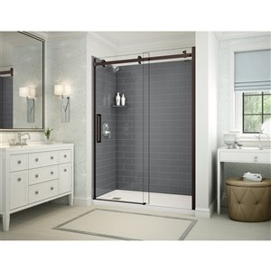 MAAX Utile Alcove Shower Kit with Left Drain - 60-in x 32-in - Thunder Grey/Dark Bronze - 5-Piece
