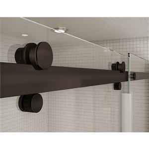 MAAX Utile Corner Shower Kit with Left Drain - 48-in x 32-in x 84-in - Stone Sahara/Dark Bronze - 5-Piece