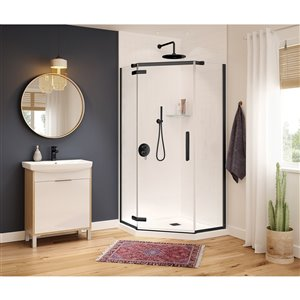 MAAX Hana Neo-Angle Shower Kit with Base - 40-in x 40-in x 78.75-in - Matte Black - 2-Piece