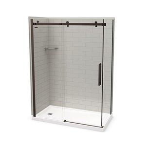 MAAX Utile Corner Shower Kit with Left Drain - 60-in x 32-in x 84-in - Soft Grey/Dark Bronze - 5-Piece