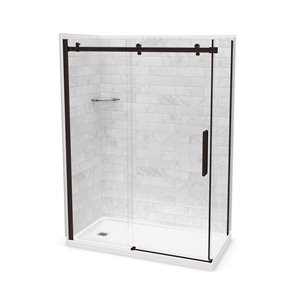 MAAX Utile Corner Shower Kit with Left Drain - 60-in x 32-in x 84-in - Marble Carrara/Dark Bronze - 5-Piece