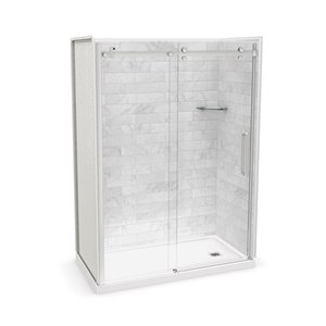MAAX Utile Alcove Shower Kit with Right Drain - 60-in x 32-in - Marble Carrara/Chrome - 5-Piece