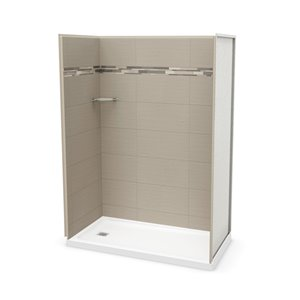MAAX Utile Alcove Shower Kit with Left Drain - 60-in x 32-in - Origin Greige - 4-Piece