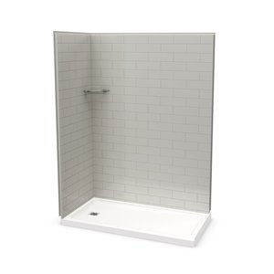 MAAX Utile Corner Shower Kit with Left Drain - 60-in x 32-in x 84-in - Soft Grey - 3-Piece