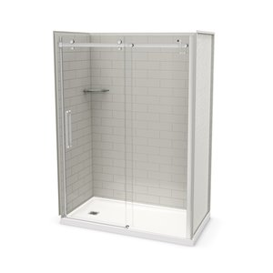 MAAX Utile Alcove Shower Kit with Left Drain - 60-in x 32-in - Soft Grey/Chrome - 5-Piece