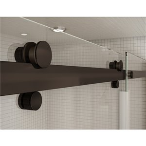 MAAX Utile Alcove Shower Kit with Central Drain - 48-in x 32-in - Stone Sahara/Dark Bronze - 5-Piece