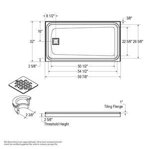 MAAX Utile Alcove Shower Kit with Left Drain - 60-in x 32-in - Stone Sahara/Dark Bronze - 5-Piece