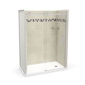 MAAX Utile Alcove Shower Kit with Right Drain - 60-in x 32-in - Stone Sahara/Chrome - 5-Piece