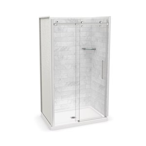 MAAX Utile Alcove Shower Kit with Central Drain - 48-in x 32-in - Marble Carrara/Chrome - 5-Piece