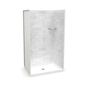 MAAX Utile Alcove Shower Kit with Central Drain - 48-in x 32-in - Marble Carrara - 4-Piece
