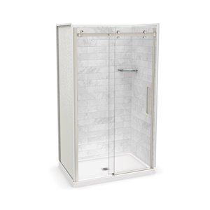 MAAX Utile Alcove Shower Kit with Central Drain - 48-in x 32-in - Marble Carrara/Brushed Nickel - 5-Piece