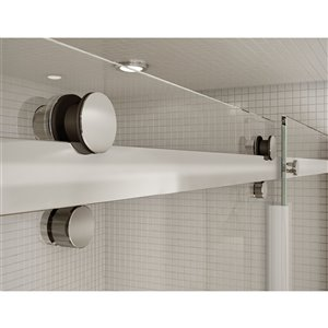 MAAX Utile Alcove Shower Kit with Left Drain - 60-in x 32-in - Marble Carrara/Chrome - 5-Piece