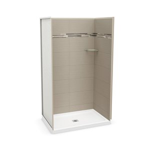 MAAX Utile Alcove Shower Kit with Central Drain - 48-in x 32-in - Origin Greige - 4-Piece