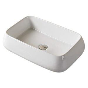 American Imaginations Stylish White Vessel Rectangular Bathroom Sink - Chrome Hardware - 16.14-in
