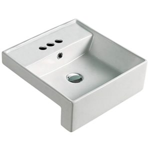 American Imaginations Stylish White Drop-In Or Undermount Square Bathroom Sink - Chrome Hardware - 16.14-in - Overflow Included