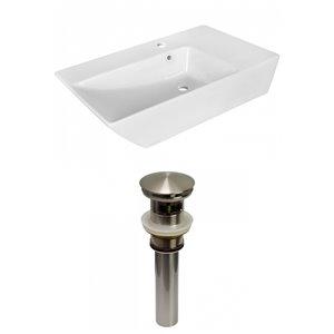 American Imaginations Modern White Vessel Rectangular Bathroom Sink - Nickel Hardware - 15.5-in - Overflow Included