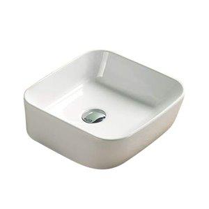 American Imaginations Modern White Vessel Rectangular Bathroom Sink - Chrome Hardware - 13.86-in