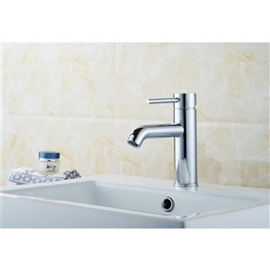 American Imaginations Elegant Polished Chrome 1-Handle Single-Hole Bathroom Sink Faucet - 5.91-in