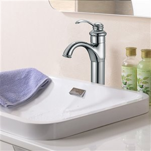American Imaginations Polished Chrome 1-Handle Single-Hole Bathroom Sink Faucet - 5.18-in Height - 6.1-in Reach