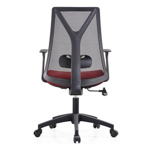 American Imaginations Maroon and Black Contemporary Manager Chair - 25.59-in x 41.34-in