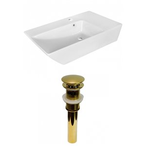 American Imaginations Stylish White Vessel Rectangular Bathroom Sink - Gold Hardware - 15.5-in - Overflow Included