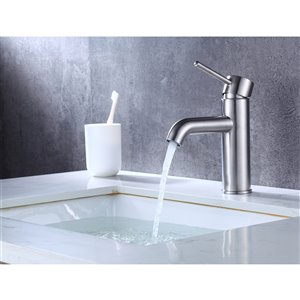 American Imaginations Stylish Brushed Nickel 1-Handle Single-Hole Bathroom Sink Faucet - 5.91-in