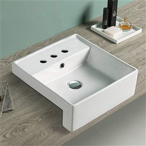 American Imaginations Modern White Drop-In Or Undermount Square Bathroom Sink - Chrome Hardware - 16.14-in - Overflow Included