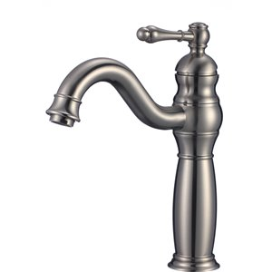 American Imaginations Stylish Brushed Nickel 1-Handle Single-Hole Bathroom Sink Faucet - 7.44-in