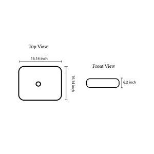 American Imaginations Modern White Vessel Square Bathroom Sink - Chrome Hardware - 16.14-in