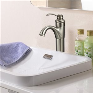 American Imaginations Stylish Brushed Nickel 1-Handle Single-Hole Bathroom Sink Faucet - 5.18-in