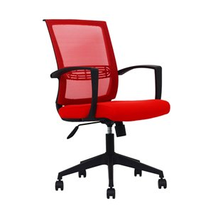 American Imaginations Red and Black Contemporary Manager Chair - 22.05-in x 41.73-in