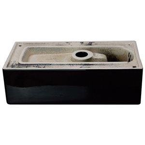 American Imaginations Black Vessel Rectangular Bathroom Sink - Chrome Hardware - 9.5-in - Overflow Included