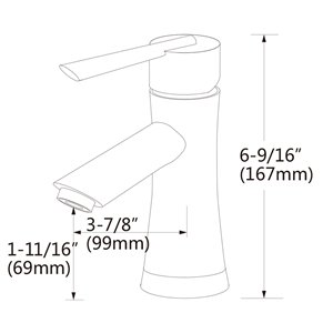 American Imaginations Sleek Matte Black 1-Handle Single-Hole Bathroom Sink Faucet - 3.9-in