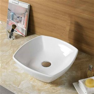 American Imaginations Modern White Vessel Square Bathroom Sink - Chrome Hardware - 16.5-in