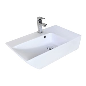 American Imaginations Modern White Vessel Rectangular Bathroom Sink - Black Hardware - 15.5-in - Overflow Included