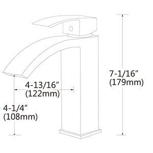 American Imaginations Sleek Matte Black 1-Handle Single-Hole Bathroom Sink Faucet - 4.8-in